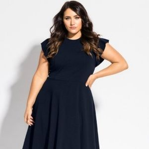 City Chic Frill Shoulder Dress